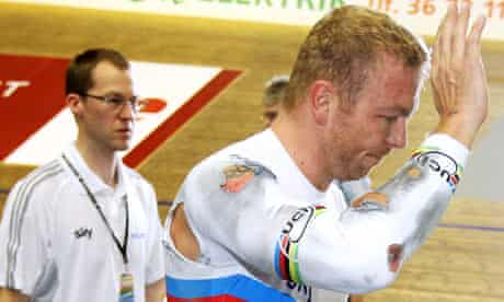 Chris Hoy after a crash at the Copenhagen World Cup in February