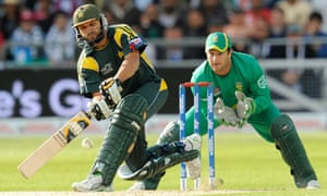 Pakistan's Shahid Afridi plays a shot in the semi-final against South Africa