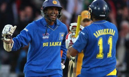Jehan Mubarak celebrates Sri Lanka's World Twenty20 victory over Australia with Kumar Sangakkara