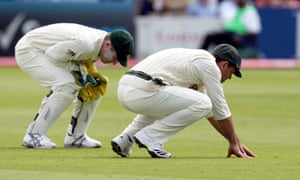 Ricky Ponting reacts after failing to hold on to an edged ball from Ravi Bopara