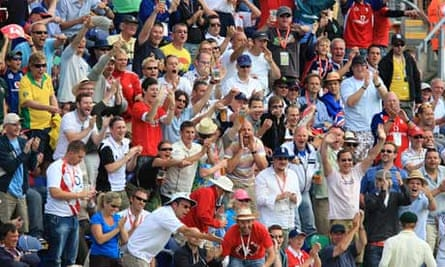 England fans cheer a boundary