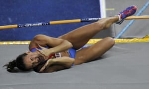 A distraught Yelena Isinbayeva reacts after being eliminated