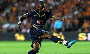 Jermain Defoe strikes to score his third goal against Hull on Wednesday