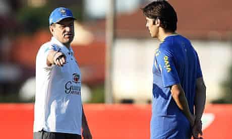 Dunga, left, speaks to Kaka during a Brazil training session on Wednesday