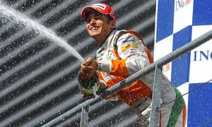 Giancarlo Fisichella celebrates his second place for Force India at the Belgian grand prix