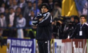 Diego Maradona watches as Argentina lose 3-1 to Brazil