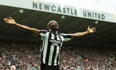 Shola Ameobi celebrates the second of his two goals in Newcastle's 5-1 win over Sunerland