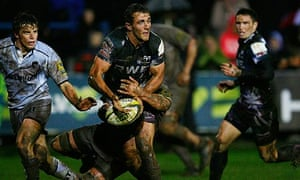Ashley Beck makes a break for Ospreys during their victory over Leicester Tigers