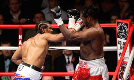 David Haye lands a punch during his win over Audley Harrison in their WBA heavyweight title fight