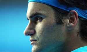 Roger Federer looks on during his straight sets victory over Andy Murray