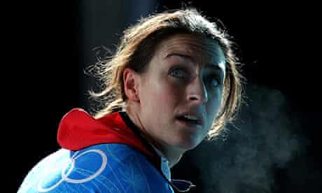 Amy Williams practices during skeleton training at the Winter Olympics