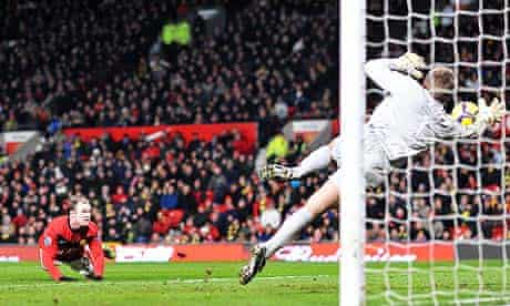 Wayne Rooney scores his first against West Ham