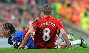 Steven Gerrard collides with Steven Pienaar during Liverpool's victory over Everton on Saturday