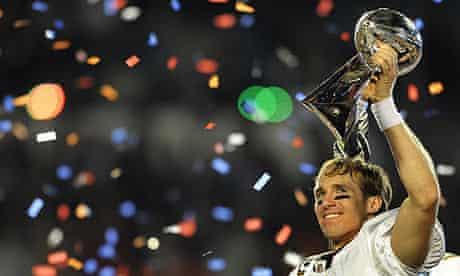 New Orleans Saints quarterback Drew Brees celebrates winning the Super Bowl