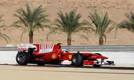 Ferrari driver Fernando Alonso of Spain steers his car during the Bahrain grand prix