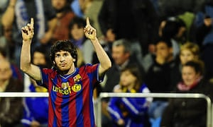 Lionel Messi celebrates after scoring during Barcelona's 4-2 win against Zaragoza yesterday