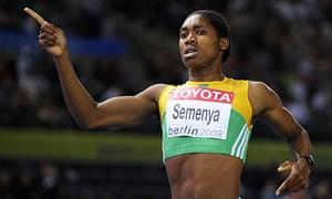 Caster Semenya celebrates winning the 800m gold medal in Berlin last August