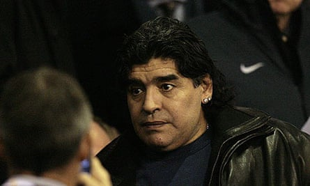 Diego Maradona during a recent trip to Anfield to watch Liverpool play