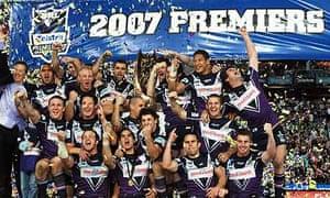 Melbourne Storm celebrate winning the 2007 NRL Grand Final