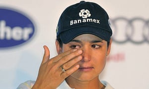 A tearful Lorena Ochoa explains her decision to retire from golf to enjoy more time with her family. Photograph: Sashenka Gutierrez/EPA