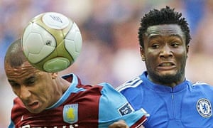 Mikel John Obi playing for Chelsea at Aston Villa