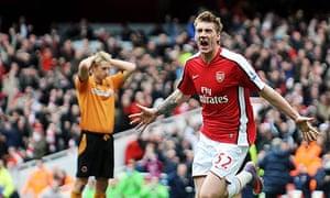 Nicklas Bendtner celebrates scoring Arsenal's late winner against Wolves last Saturday