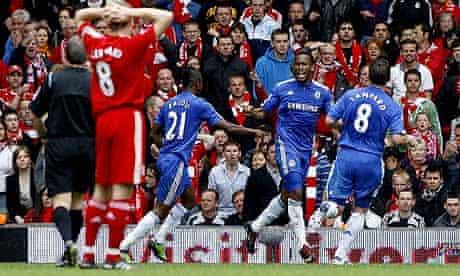 Didier Drogba scores after Steven Gerrard mistake