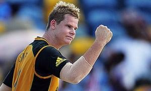 Australian bowler Steve Smith celebrate