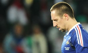 France's striker Franck Ribery looks dej