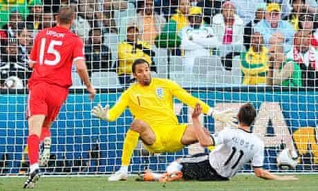 Miroslav Klose slots the ball past David James to open the scoring