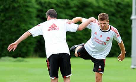 Steven Gerrard, right, and Jamie Carragher in pre-season training at Liverpool's Melwood base