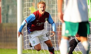 Barry Bannan celebrates scoring for Aston Villa in their Europa League tie against Rapid Vienna