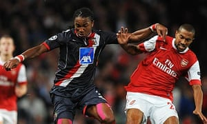 Gael Clichy, right, battles for possession with Osório Alan during Arsenal's 6-0 win over Braga
