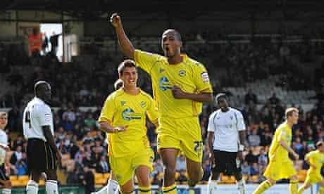 Chris Zebroski celebrates scoring Torquay's decisive goal in their 2-1 win at Port Vale