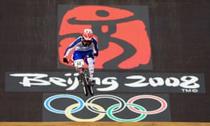 Liam Phillips competes in the BMX competition at the Beijing Olympics in 2008