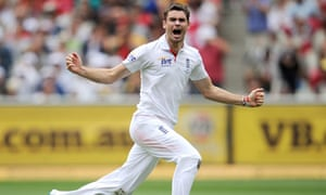 Jimmy Anderson celebrates taking the wicket of Michael Hussey