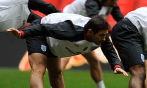 England's Frank Lampard warms up at Wembley
