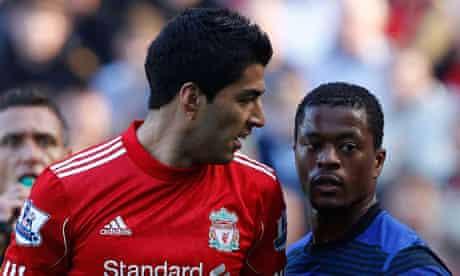 Liverpool's Suárez and Patrice Evra