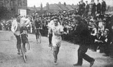 John Hayes of the USA wins the marathon at the 1908 Olympic Games on a hot day in London
