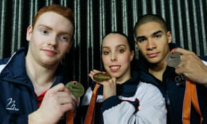 Daniel Purvis, Beth Tweddle and Louis Smith pose with their medals at the 2010 world championships