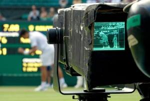 Wimbledon photo book: Novak Djokovic seen on a camera monitor on Centre Court