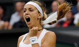 Sabine Lisicki celebrates beating Marion Bartoli in the Wimbledon quarter-finals