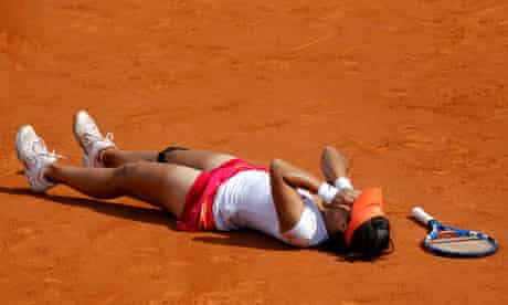 Li Na of China after winning the French Open final against Francesca Schiavone of Italy