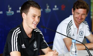 Chelsea's Josh McEachran, left, and manager André Villas-Boas talk to the press in Hong Kong.