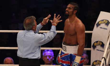 Referee Genaro Rodriguez issues a count to David Haye during his defeat to Wladimir Klitschko
