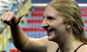 Rebecca Adlington celebrates her gold medal win in the 800m freestyle