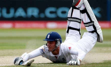 England's Stuart Broad is run out during the second innings of the second Test