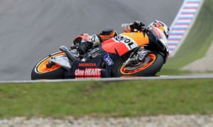 Dani Pedrosa during the qualifying session at the Czech Republic's Grand Prix