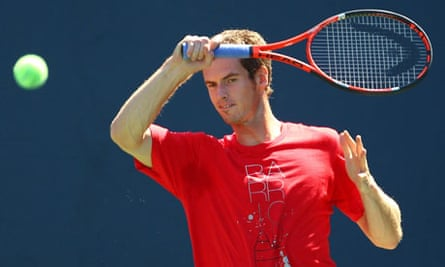 Andy Murray practises at the US Open
