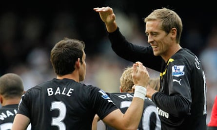 Peter Crouch celebrates with Gareth Bale